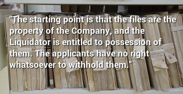 Liquidator's Right To Solicitors Files